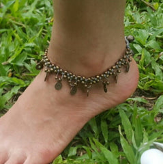 Hand Made Fair Trade Anklet Double Strand Brass Coins Gey
