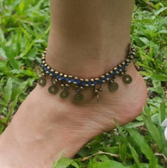 Hand Made Fair Trade Anklet Double Strand Brass Coins Purple