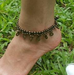 Hand Made Fair Trade Anklet Double Strand Brass Coins Black
