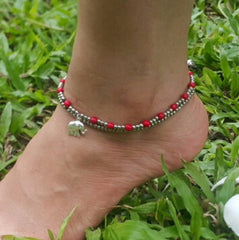 Hand Made Fair Trade Anklet Double Strand Silver Beads Red Elephant