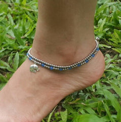 Hand Made Fair Trade Anklet Double Strand Silver Beads Blue Elephant