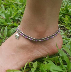 Hand Made Fair Trade Anklet Double Strand Silver Beads Purple Elephant