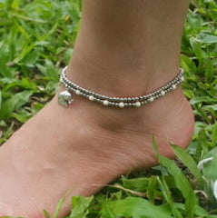 Hand Made Fair Trade Anklet Double Strand Silver Beads White Elephant