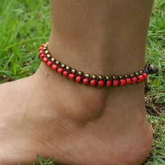 Hand Made Fair Trade Anklet Double Strand Brass Beads Red