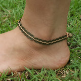 Hand Made Fair Trade Anklet Antique Coins Beige