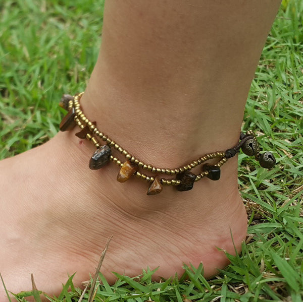 Hand Made Fair Trade Anklet Double Strand Brass Beads Tiger Eye