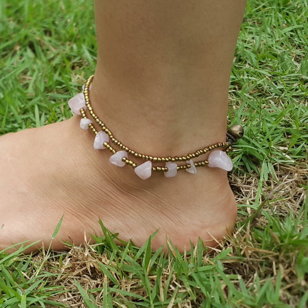Hand Made Fair Trade Anklet Double Strand Brass Beads Rose Quartz