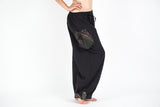 Organic Cotton Thai  Yoga Massage Pants Hill Tribe Trim Black