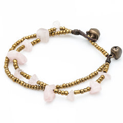 Brass Bead And Pink Stone Double Strand Bracelets