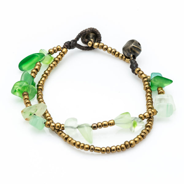 Brass Bead And Green Stone Double Strand Bracelets