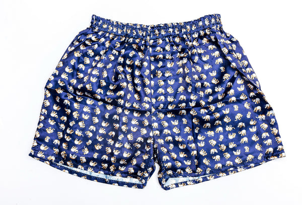 Thai Silk Boxer Shorts Elephants Print in Navy