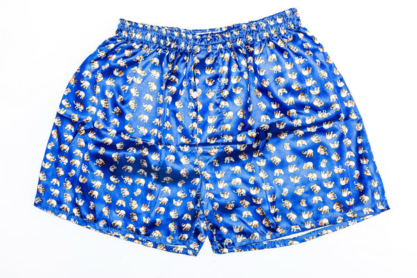 Thai Silk Boxer Shorts Elephants Print in Blue
