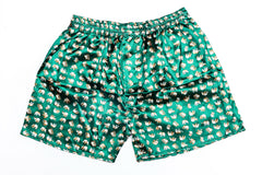 Thai Silk Boxer Shorts Elephants Print in Green