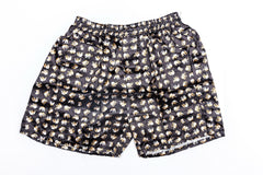 Thai Silk Boxer Shorts Elephants Print in Black