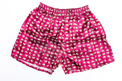 Thai Silk Boxer Shorts Elephants Print in Red