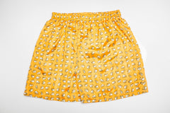 Thai Silk Boxer Shorts Elephants Print in Yellow