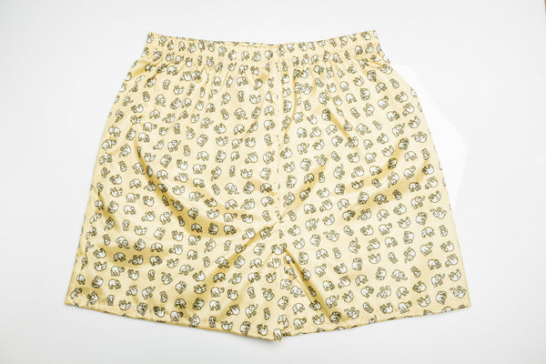 Thai Silk Boxer Shorts Elephants Print in Light Yellow