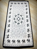 100% Organic Cotton Scarf Shawl From Thailand Elephant Mandala White