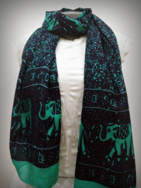 100% Organic Cotton Scarf Shawl From Thailand Elephant Mandala Green