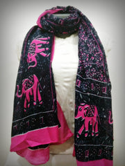 100% Organic Cotton Scarf Shawl From Thailand Elephant Mandala Pink