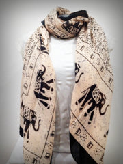 100% Organic Cotton Scarf Shawl From Thailand Elephant Mandala Cream