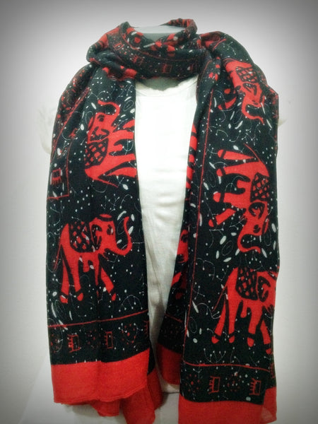 100% Organic Cotton Scarf Shawl From Thailand Elephant Mandala Red