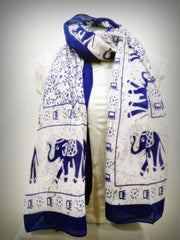 100% Organic Cotton Scarf Shawl From Thailand Elephant Mandala Blue