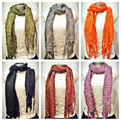Wholesale Set of 10 Nepal Fair Trade Cotton Silk Blend Scarves Shawls