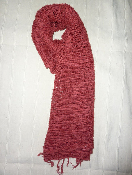 Fair Trade 100% Organic Thick Cotton Scarf Red
