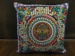 Hand Embroidered Thai Hmong Hill Tribe Pillow Cover Rainbow