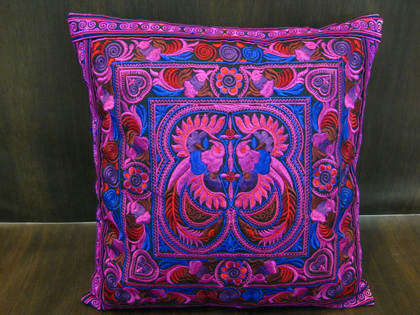 Hand Embroidered Thai Hmong Hill Tribe Pillow Cover Purple