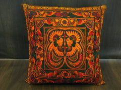 Hand Embroidered Thai Hmong Hill Tribe Pillow Cover Orange