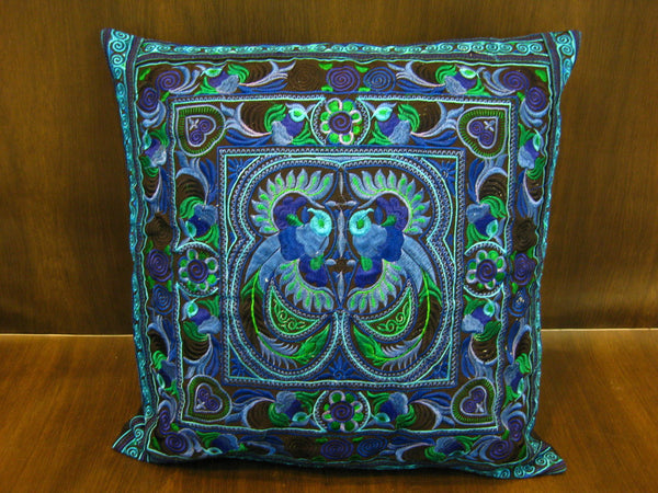 Hand Embroidered Thai Hmong Hill Tribe Pillow Cover Blue
