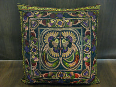 Hand Embroidered Thai Hmong Hill Tribe Pillow Cover Green