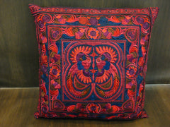 Hand Embroidered Thai Hmong Hill Tribe Pillow Cover Red