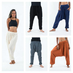 Assorted set of 10 Crinkled Lightweight Cotton Harem Pants with Pockets