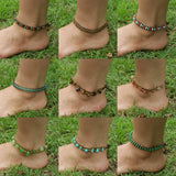 Hand Made Fair Trade Anklet Double Strand Brass Beads Green