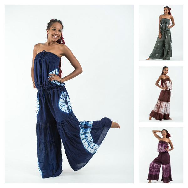 Assorted set of 10 Tie Dye Cotton Wide Leg Jumpsuit