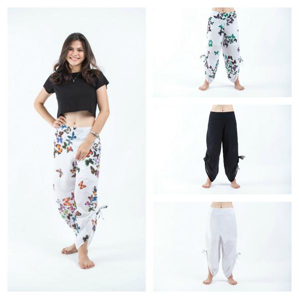 Assorted Set of 10 Solid color and Butterflies Women Cotton Button Up Pants