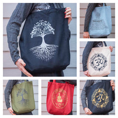 Assorted set of 5 Recycled Cotton Canvass Shopping Tote Bag