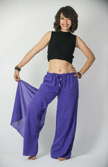 Women's Thai Harem Double Layers Palazzo Pants in Solid Purple