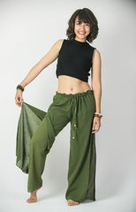 Women's Thai Harem Double Layers Palazzo Pants in Solid Green