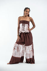 Women's Tie Dye Cotton Wide Leg Jumpsuit in Brown