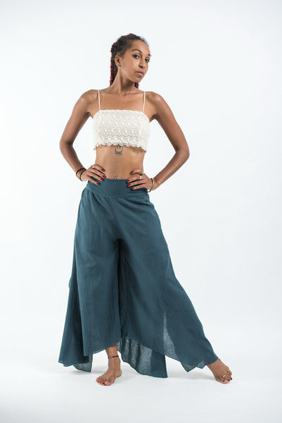 Women's Tinkerbell Cotton Palazzo Pants in Dark Teal
