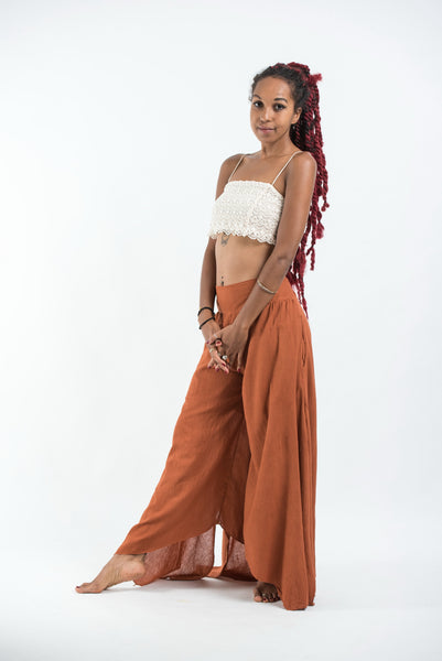Women's Tinkerbell Cotton Palazzo Pants in Rust