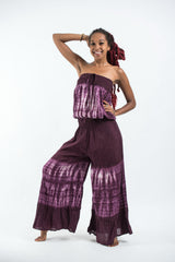 Women's Tie Dye Cotton Wide Leg Jumpsuit in Purple