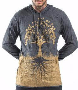 Sure Design Unisex Hoodie Tree of Life in Gold on Black