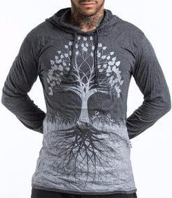 Sure Design Unisex Hoodie Tree of Life in Silver on Black