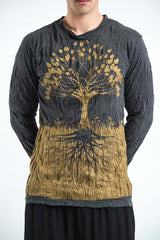 Sure Design Unisex Long Sleeve Shirts Tree of Life in Gold on Black
