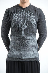 Sure Design Unisex Long Sleeve Shirts Tree of Life in Silver on Black